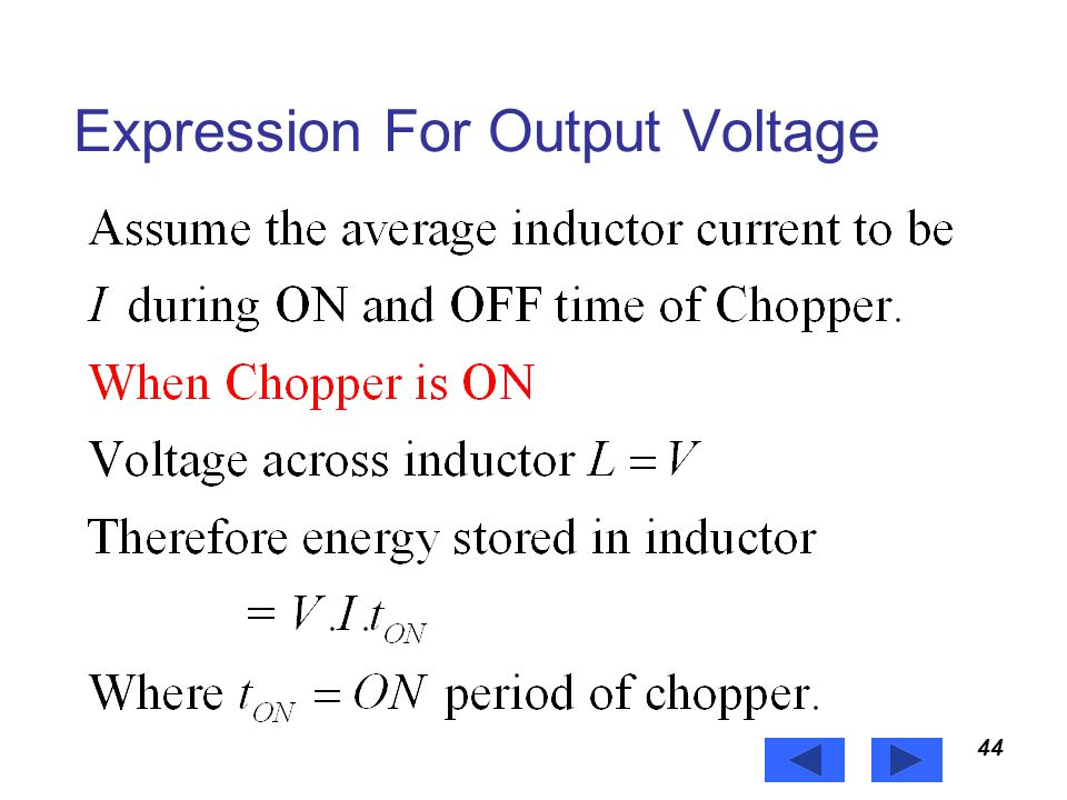 Expression For Output Voltage