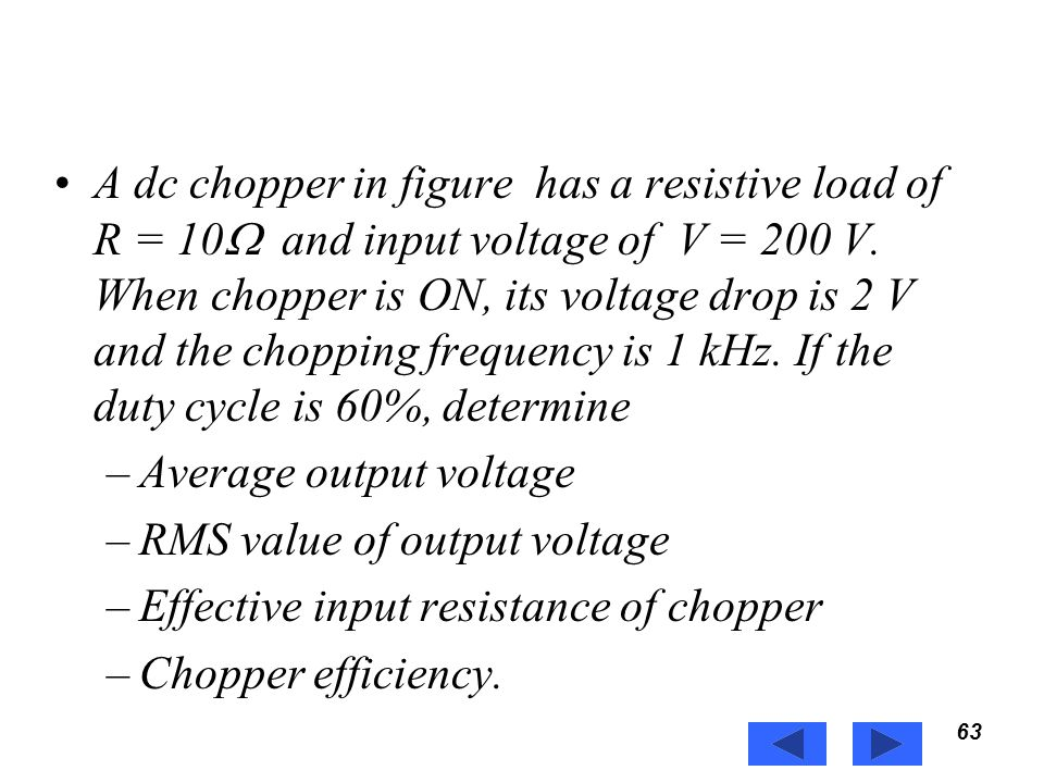 Average output voltage RMS value of output voltage