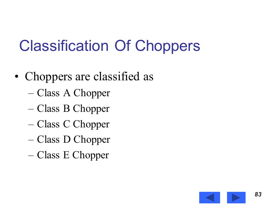 Classification Of Choppers