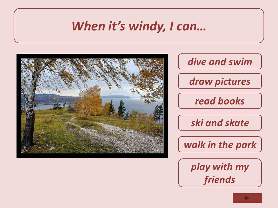 When it's windy, I can… dive and swim draw pictures read books