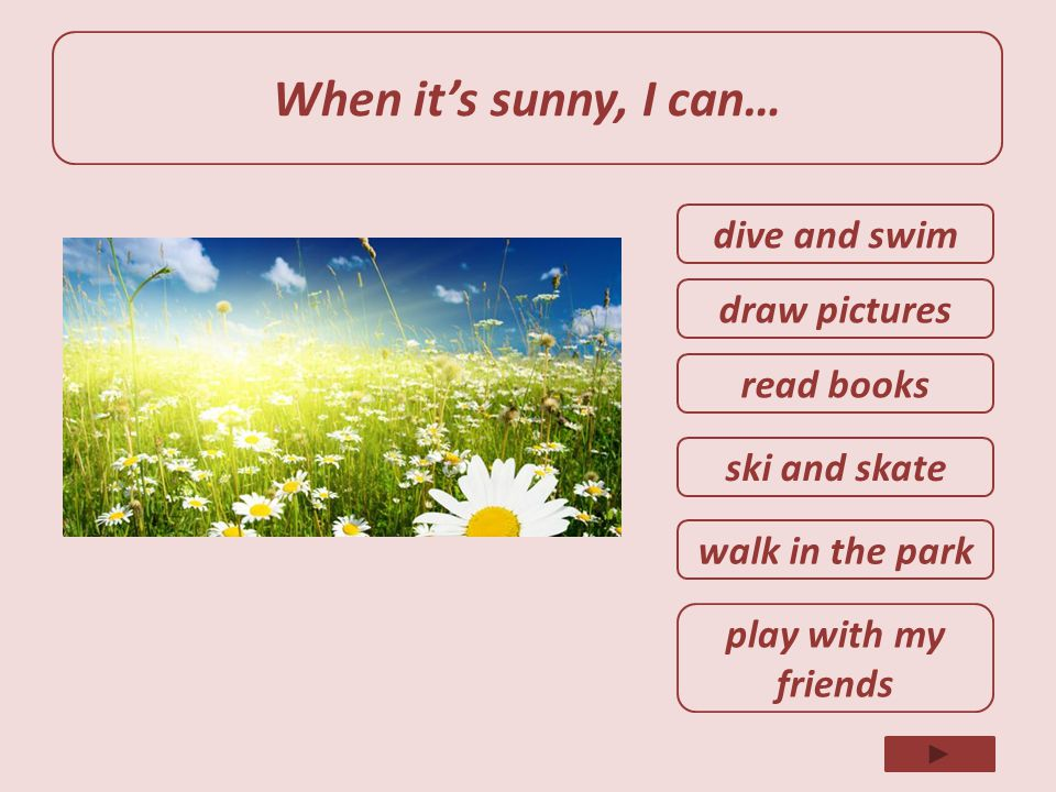 When it's sunny, I can… dive and swim draw pictures read books