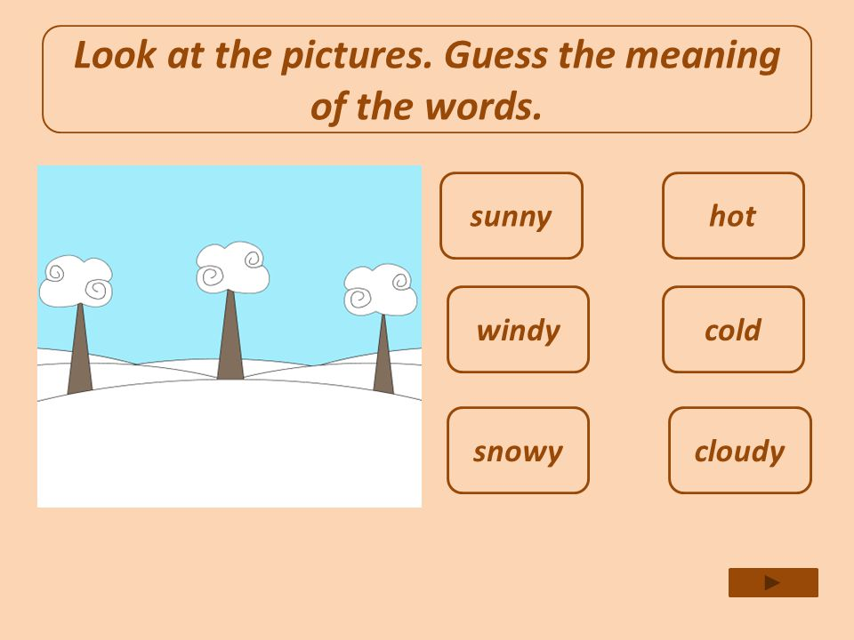 Look at the pictures. Guess the meaning of the words.