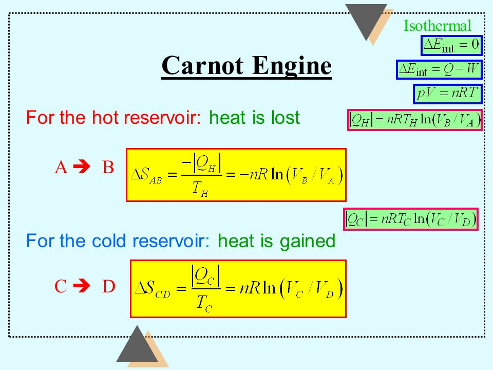 Carnot Engine For the hot reservoir: heat is lost A  B