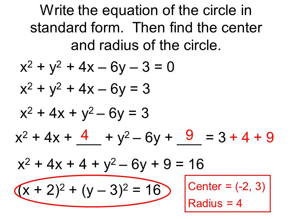 Standard Form Equation Of A Circle Image Collections Free Form