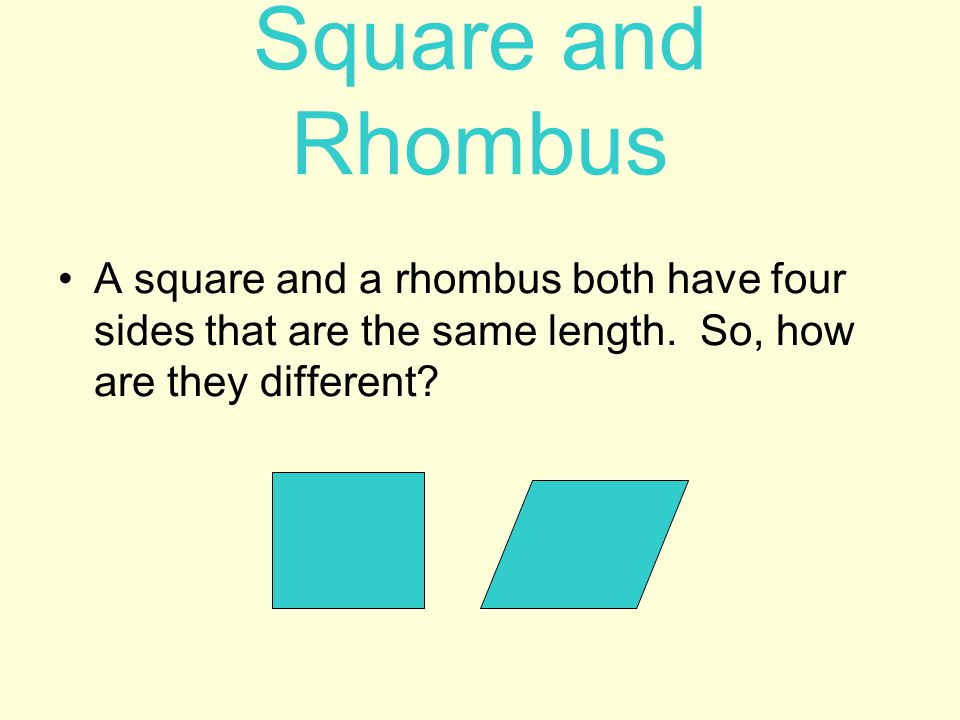 Square and Rhombus A square and a rhombus both have four sides that are the same length.
