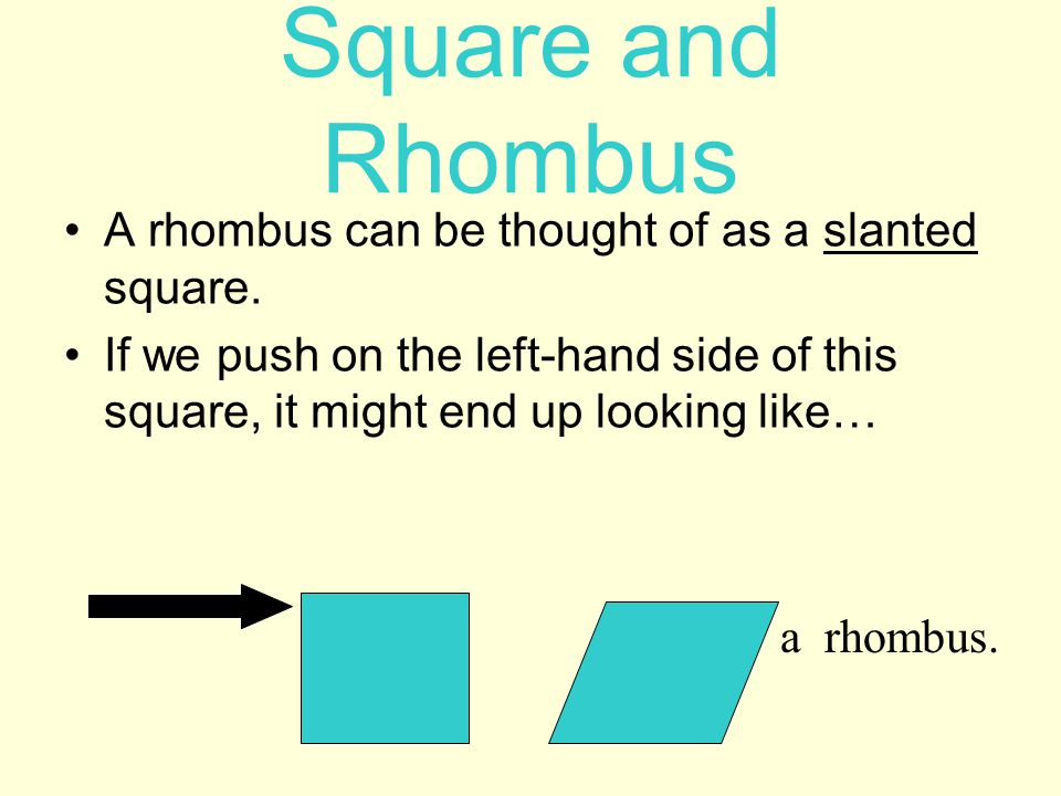 Square and Rhombus A rhombus can be thought of as a slanted square.