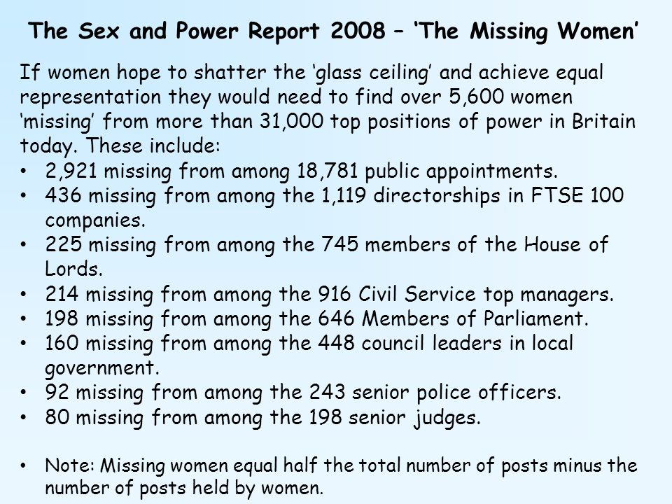 The Sex and Power Report 2008 – 'The Missing Women'