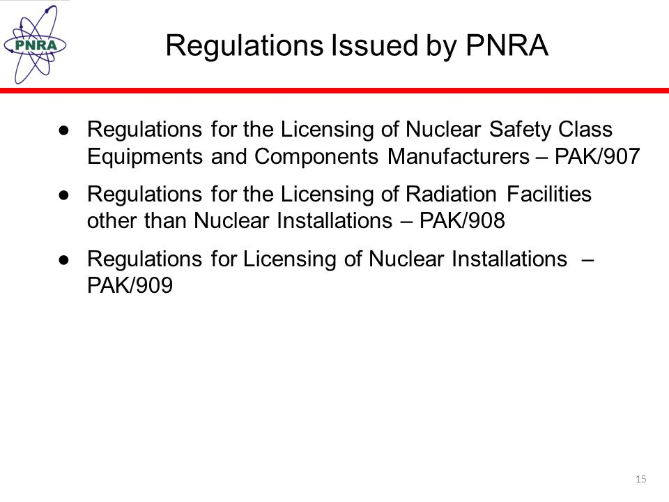 Regulations Issued by PNRA