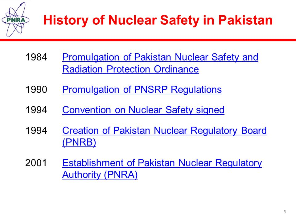 History of Nuclear Safety in Pakistan