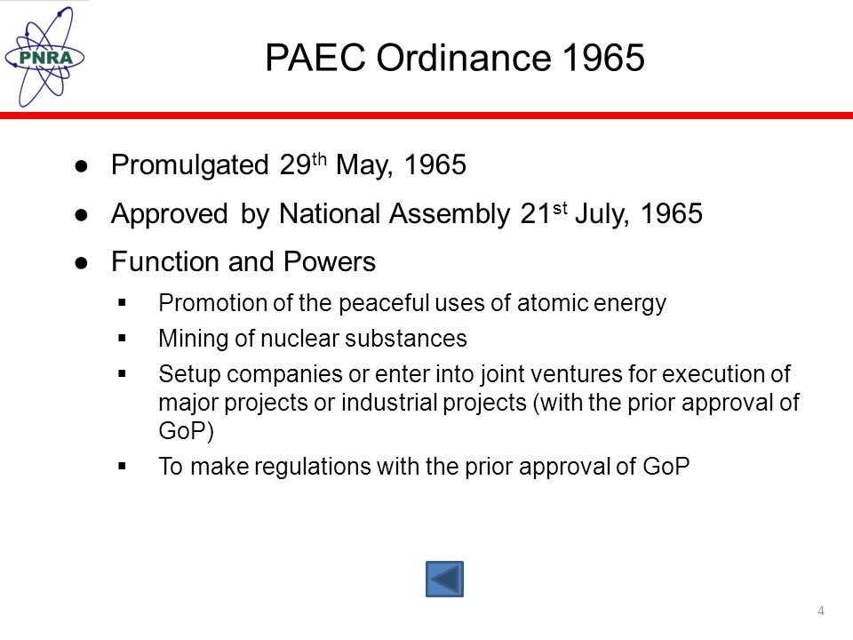 PAEC Ordinance 1965 Promulgated 29th May, 1965