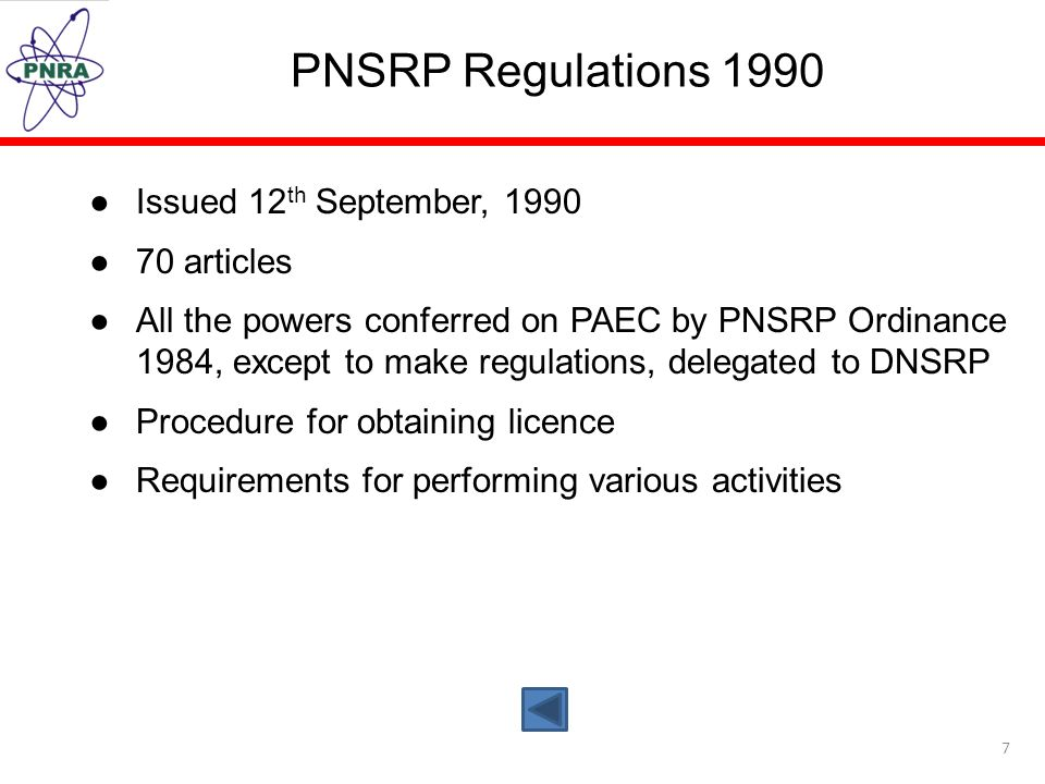 PNSRP Regulations 1990 Issued 12th September, articles