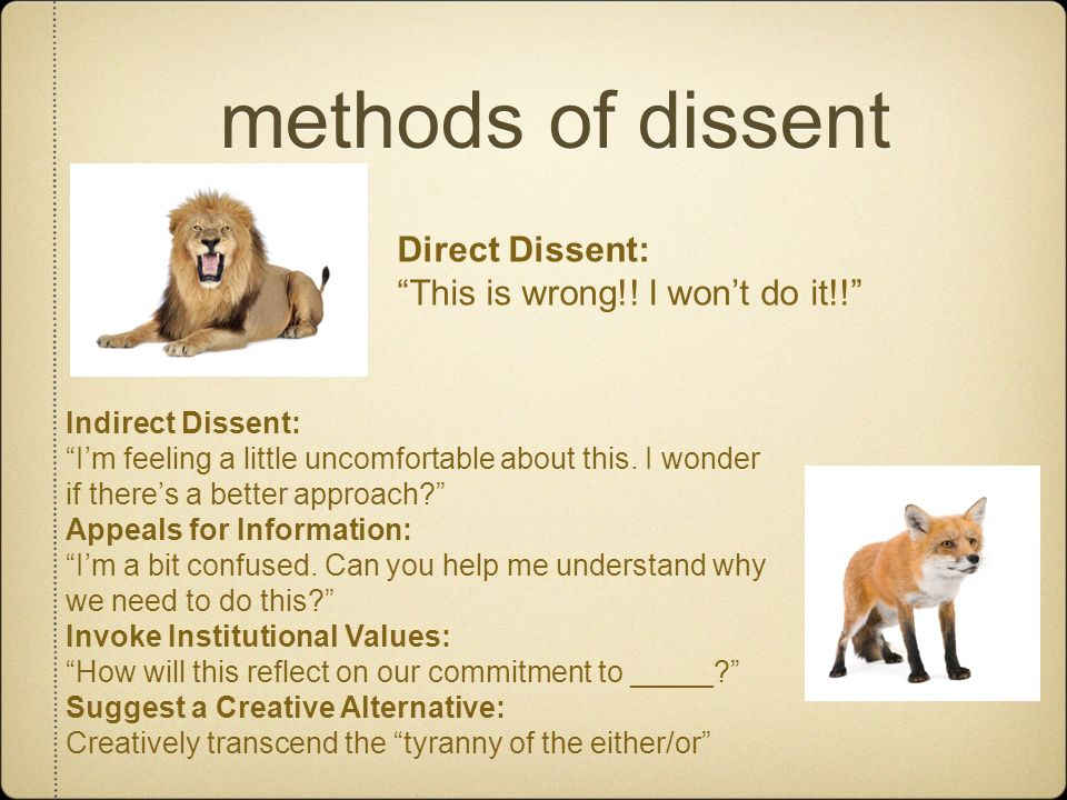 methods of dissent Direct Dissent: This is wrong!! I won't do it!!
