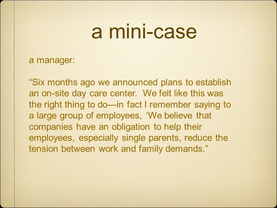 a mini-case a manager:
