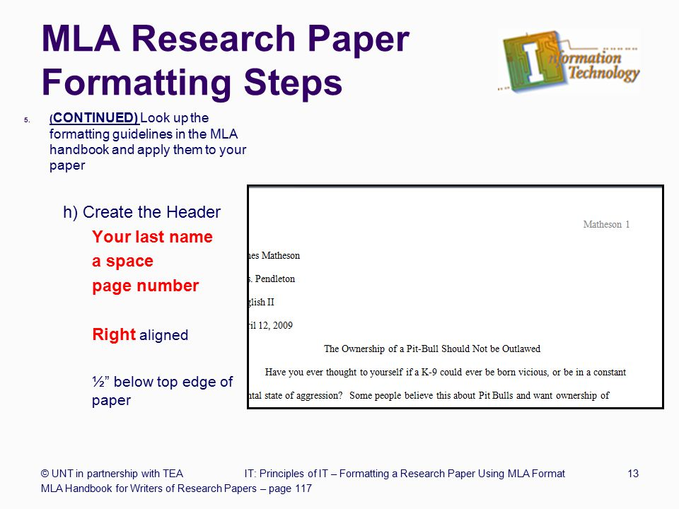 mla research paper header