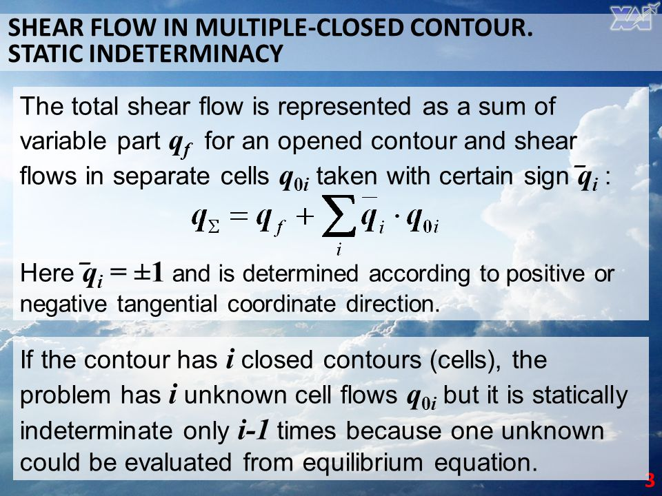SHEAR FLOW IN MULTIPLE-CLOSED CONTOUR. STATIC INDETERMINACY
