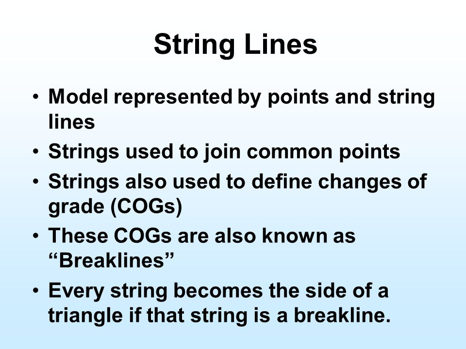 String Lines Model represented by points and string lines