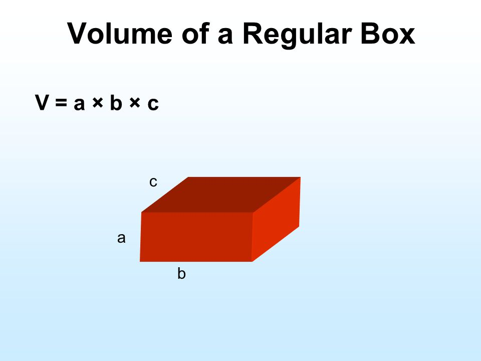 Volume of a Regular Box V = a × b × c c a b
