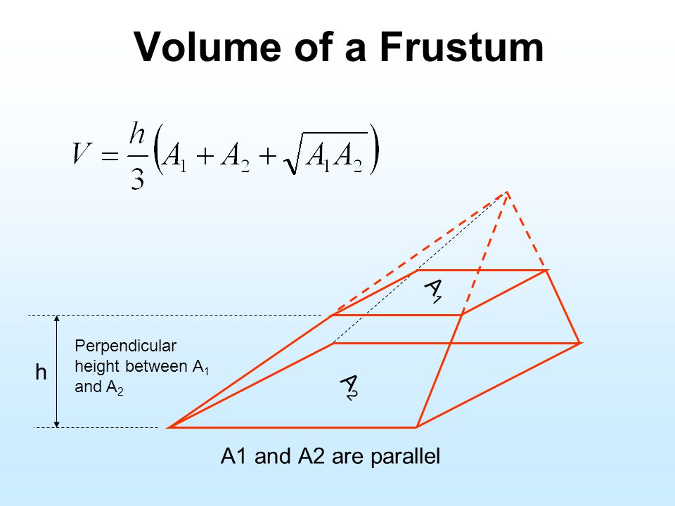 Volume of a Frustum A1 h A2 A1 and A2 are parallel