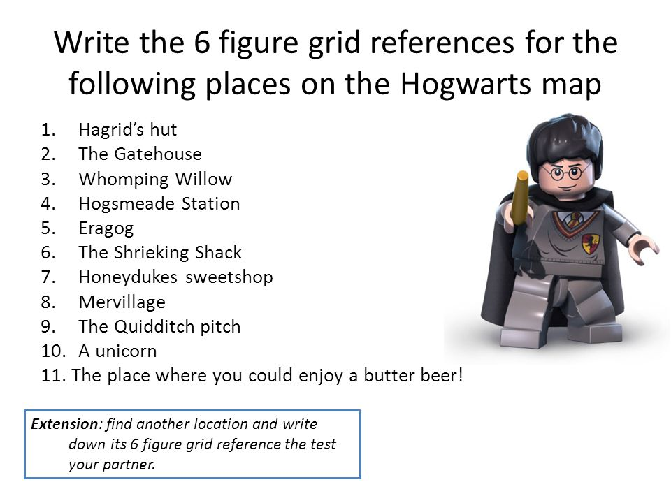 Write The 6 Figure Grid References For The Following Places On The Hogwarts Map