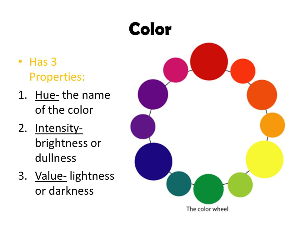 Color Has 3 Properties: Hue- the name of the color