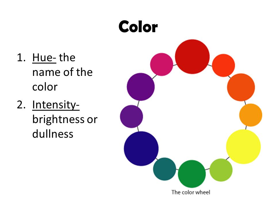 Color Hue- the name of the color Intensity- brightness or dullness