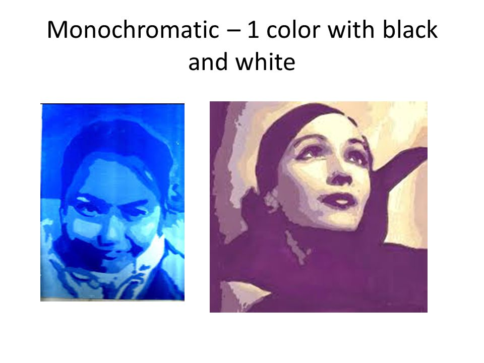 Monochromatic – 1 color with black and white