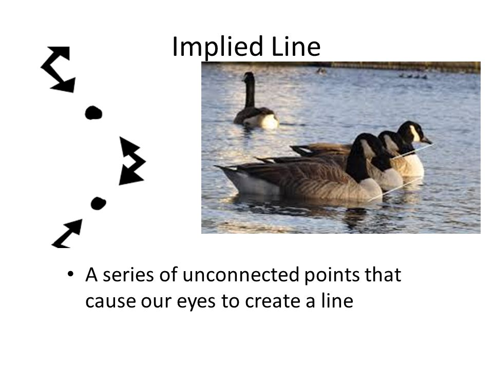 Implied Line A series of unconnected points that cause our eyes to create a line