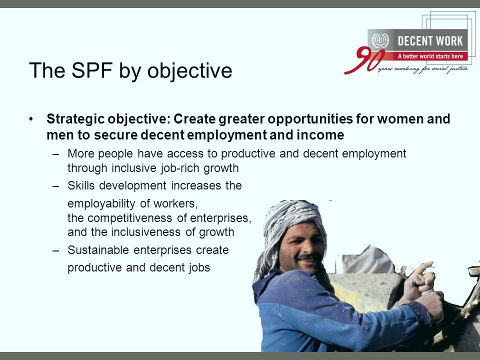 The SPF by objective Strategic objective: Create greater opportunities for women and men to secure decent employment and income.