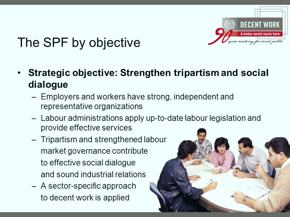The SPF by objective Strategic objective: Strengthen tripartism and social dialogue.