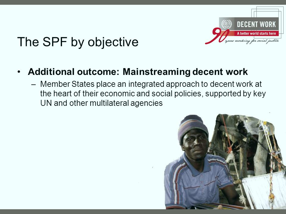The SPF by objective Additional outcome: Mainstreaming decent work