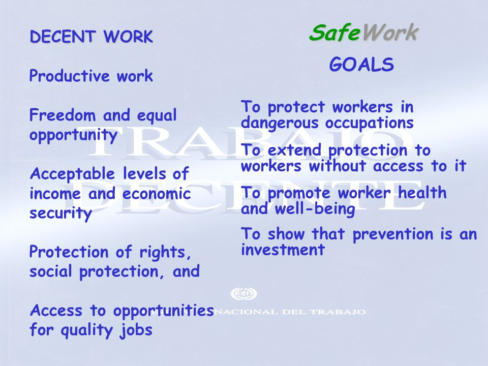 SafeWork GOALS DECENT WORK Productive work