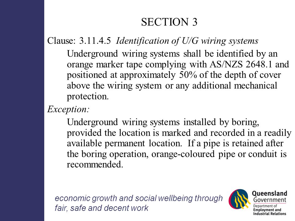 Wiring rules information seminar ppt download section 3 clause identification of ug wiring systems greentooth Gallery