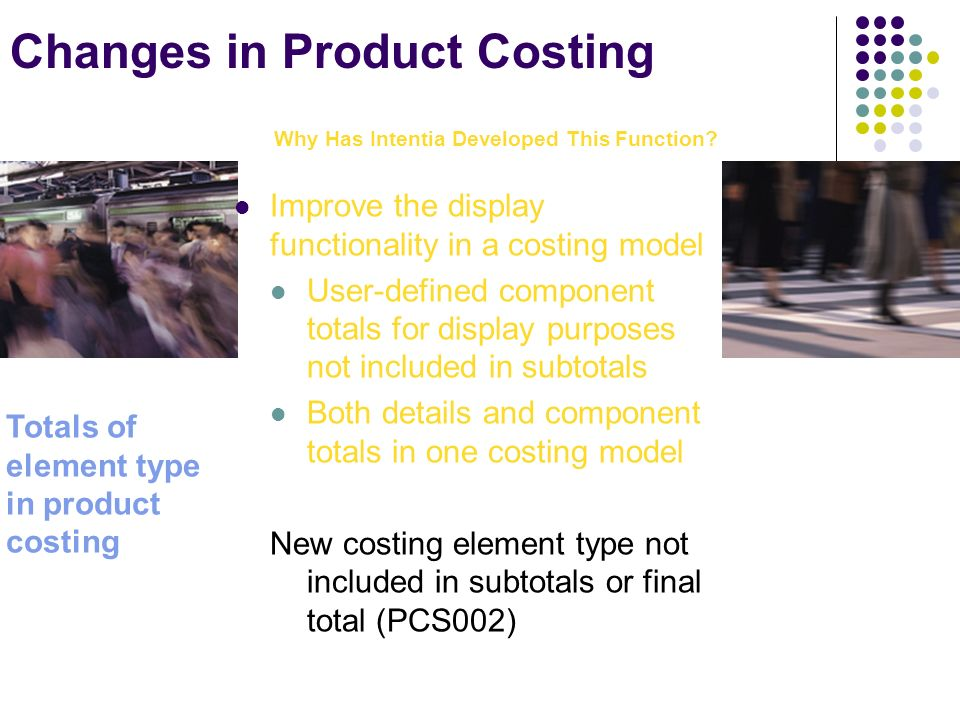 Changes in Product Costing