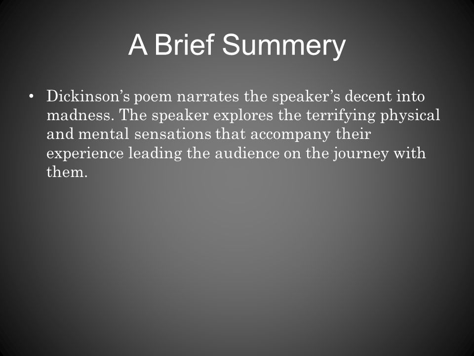 I Felt a Funeral, in My Brain - ppt video online download
