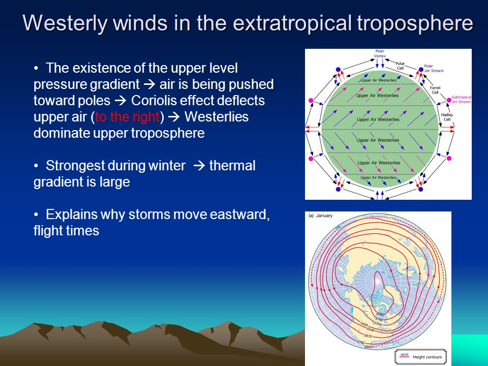 Westerly winds in the extratropical troposphere