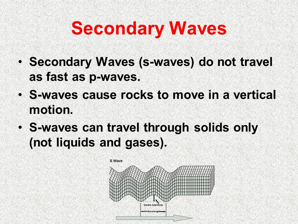 Secondary Waves Secondary Waves (s-waves) do not travel as fast as p-waves. S-waves cause rocks to move in a vertical motion.