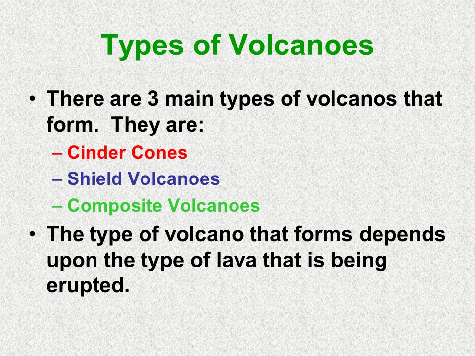 Types of Volcanoes There are 3 main types of volcanos that form. They are: Cinder Cones. Shield Volcanoes.