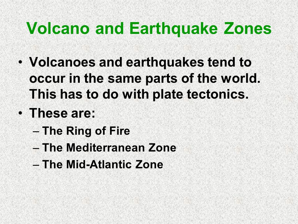 Volcano and Earthquake Zones