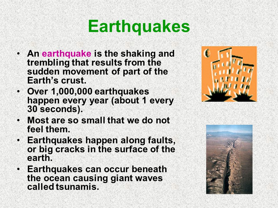 Earthquakes An earthquake is the shaking and trembling that results from the sudden movement of part of the Earth's crust.
