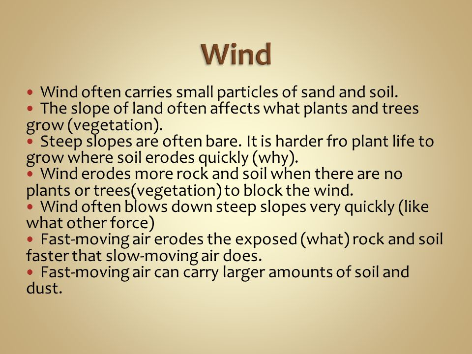 Wind Wind often carries small particles of sand and soil.