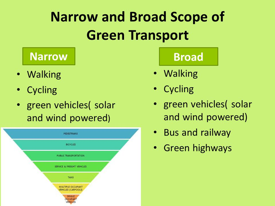Narrow and Broad Scope of Green Transport