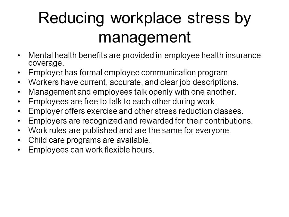 reducing workplace stress by management