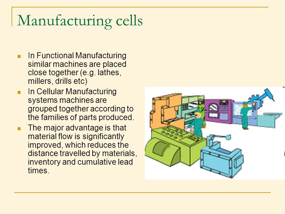 Manufacturing cells In Functional Manufacturing similar machines are placed close together (e.g. lathes, millers, drills etc)