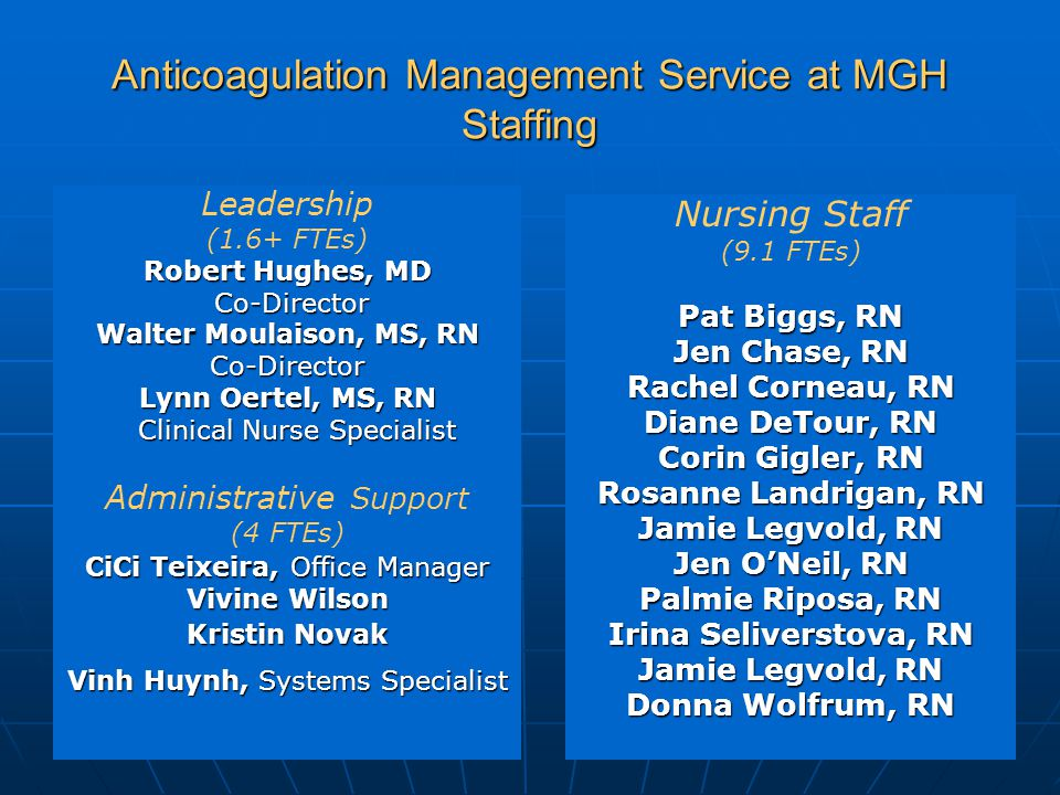 Massachusetts General Hospital Anticoagulation Management