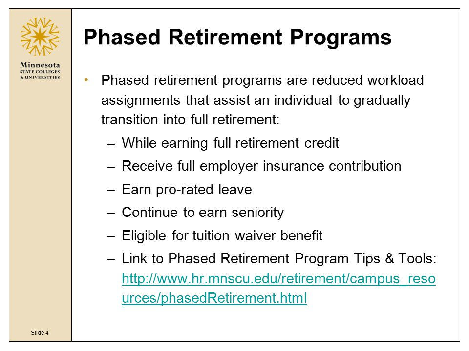 exceptionnel Phased Retirement Programs