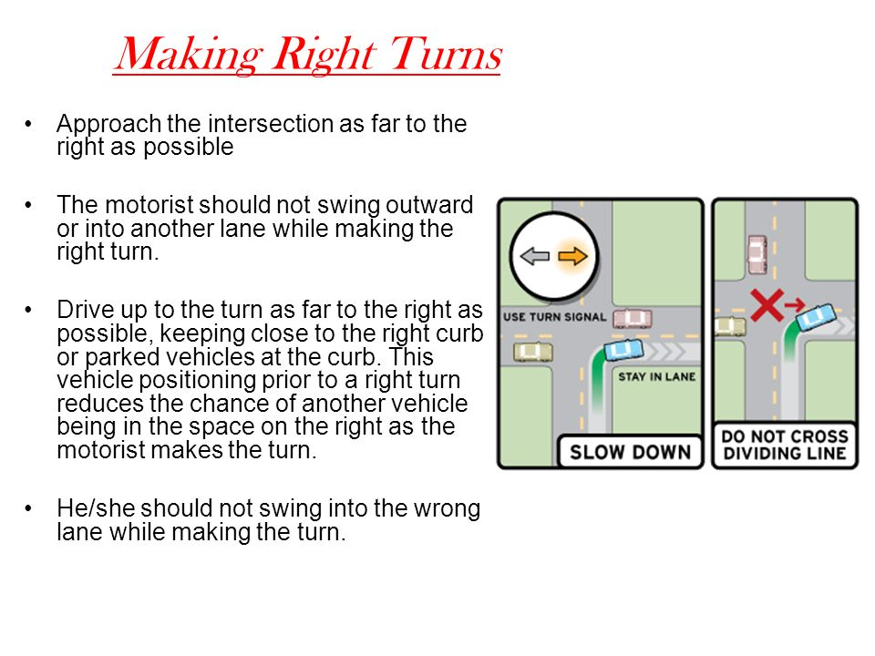 Making Right Turns Approach the intersection as far to the right as possible.