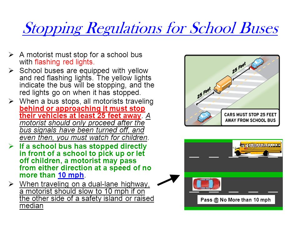 Stopping Regulations for School Buses