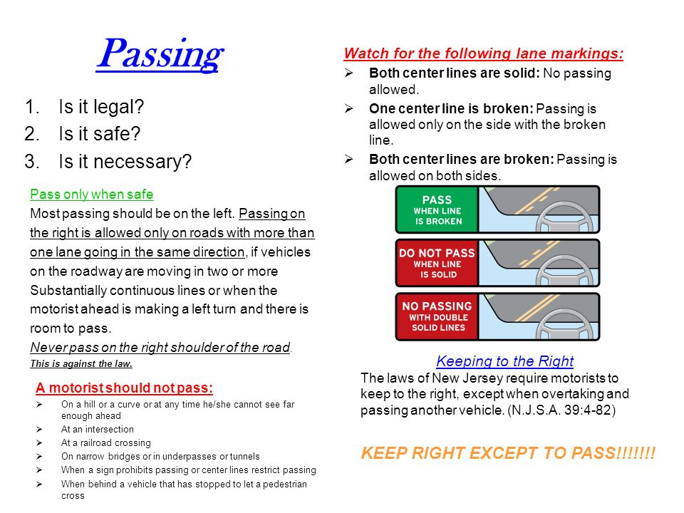 Passing Is it legal Is it safe Is it necessary