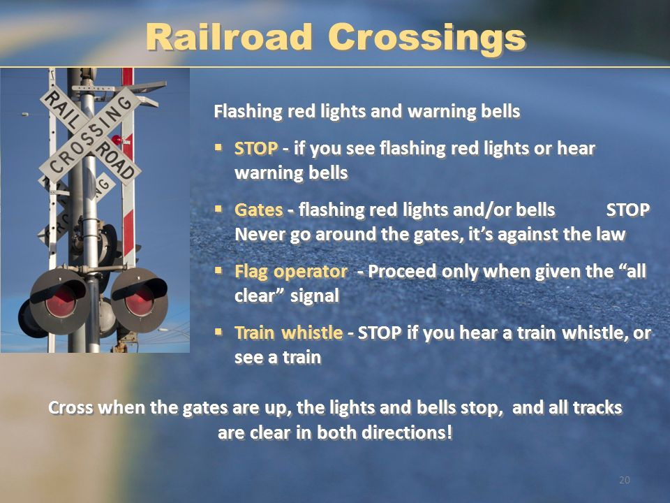Railroad Crossings Flashing red lights and warning bells