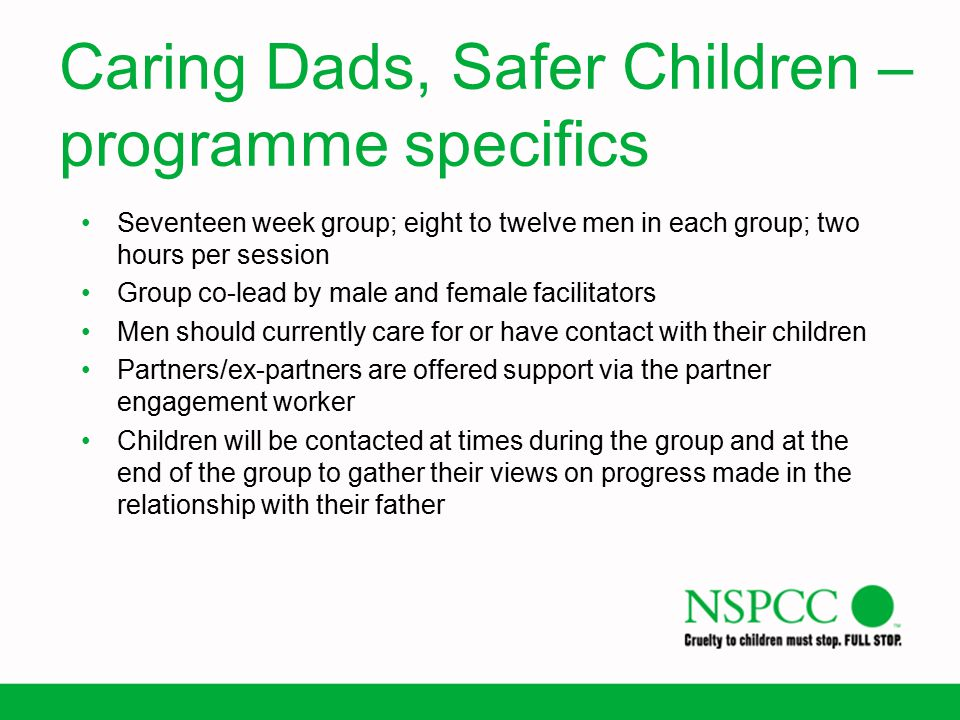 Caring Dads, Safer Children – programme specifics